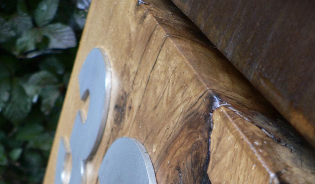 Brievenbus hout-cortenstaal